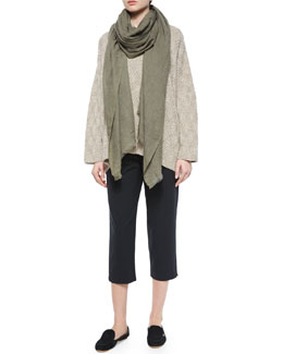 Diamond-Knit Cashmere-Blend Turtleneck Sweater, Fringe-Trimmed Cashmere Gauze Large Scarf & Cropped Narrow Slit-Cuff Trousers
