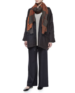 Hooded Lined Button Raincoat, Slim-Sleeve Sideways Knit Sweater, Cashmere Tartan Check Fringe Scarf & Silk-Cashmere Wide-Leg Pants
