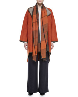 High-Low Reversible Jacket, Cashmere Tartan Check Fringe Scarf, Slim-Sleeve Knit Top & Silk-Cashmere Wide-Leg Pants