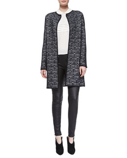 Geometric Jacquard Long Topper,  Silk Button-Back Blouse & Lambskin Leather Leggings