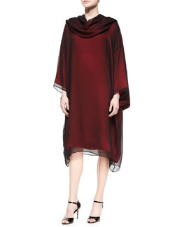 Bateau-Neck Long-Sleeve Tunic Dress & Shawl