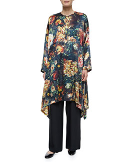 Floral-Print Long Poncho & Wide-Leg Flared Trousers