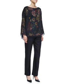 Chiffon Layered Floral-Print Top & Mid-Rise Tapered-Leg Trousers
