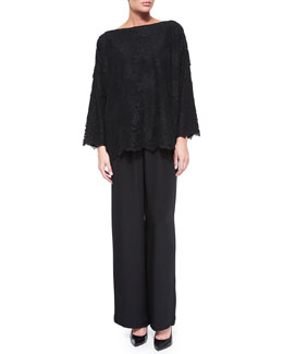 Bateau-Neck Floral-Lace Tunic & Wide-Leg Flared Trousers