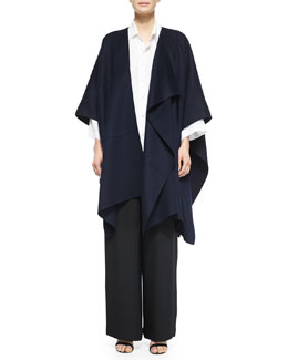 Asymmetric Sleeveless Jacket, Sloped-Shoulder Button-Front Shirt & Wide-Leg Flared Trousers