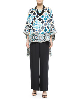 Bateau-Neck Printed Kaftan Top, Wide-Leg Flared Trousers & Multi-Strand Beaded Necklace