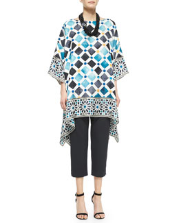 Bateau-Neck Printed Kaftan Dress, Cropped Narrow Slit-Cuff Trouser & Multi-Strand Beaded Necklace