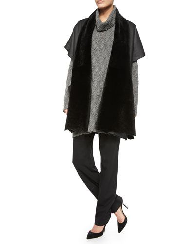 Shawl-Collar Shearling Fur Tabard, Oversized Cashmere/Wool Diamond-Knit Turtleneck Sweater & Mid-Rise Narrow-Leg Trousers