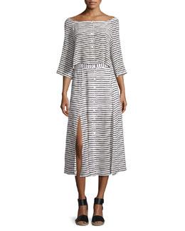Stripe Button Down Crop Top & Revoir Button Stripe Midi Skirt
