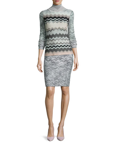 Zigzag Knit Turtleneck Top & Short Pencil Skirt