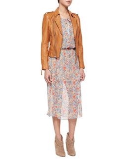 Ailey Paper-Weight Leather Moto Jacket & Pasclina Multi-Floral Printed Dress