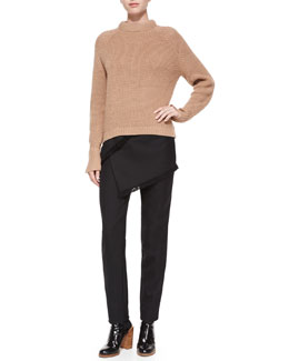 Wool Crewneck Knit Sweater & Fringe Wrap-Skirted Pants