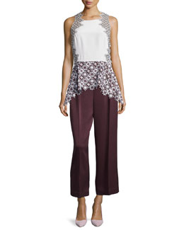 Patchwork Lace Peplum Tank & Cropped Wide Leg Trousers