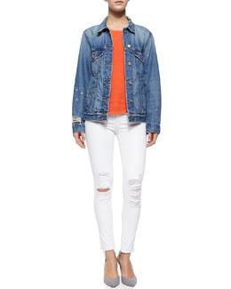 Darci Distressed Denim Jacket, Candice Rib-Knit Tank & Low-Rise Skinny Crop Jeans