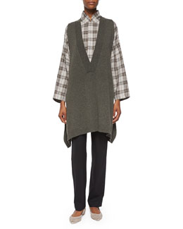 Sleeveless V-Neck Sweater, Chinese Imperial Plaid Shirt & Mid-Rise Narrow-Leg Trousers