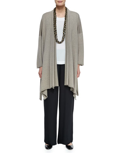 Open Draped Shimmer Cardigan, Lightweight Crepe A-Line Shell, Wide-Leg Flared Trouser & Multi-Strand Long Necklace