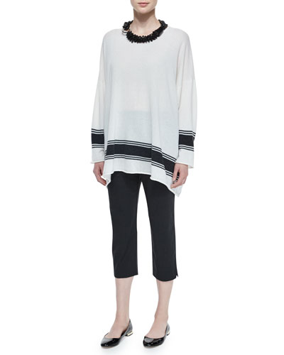 Ribbon-Striped Cashmere A-Line Sweater, Multi-Strand Beaded Necklace & Cropped Narrow Slit-Cuff Trousers