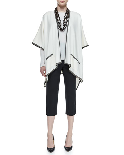 Extra-Long Contrast Trimmed Tabard, Slim-Sleeve Cashmere Knit Top, Multi-Strand Beaded Necklace & Cropped Narrow Slit-Cuff Trousers