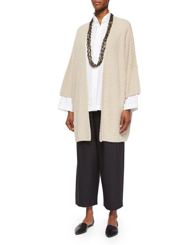 Three-Quarter-Sleeve Open Cardigan, Japanese Tapered-Leg Cropped Trousers & Multi-Strand Long Necklace