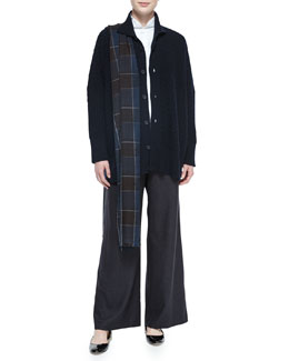 High-Neck Trellis Button Cashmere Cardigan, Sloped-Shoulder Poplin Blouse, Cashmere Plaid Fringe-Trim Scarf & Silk-Cashmere Wide-Leg Pants
