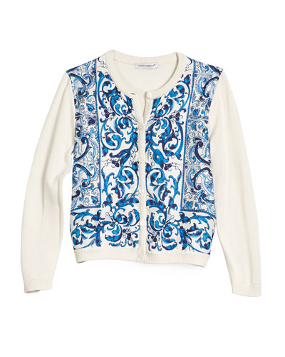 Girls' Floral Tile Silk Cardigan, Blue/White