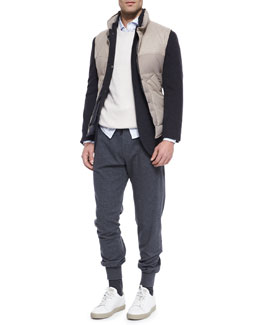 Bruno Three-Button Jacket, Mixed Media Button-Front Vest, Shaker-Stitch Cashmere Crewneck Sweater, Sport Shirt & Lead Knit Spa Pants