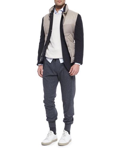 Bruno Three-Button Jacket, Mixed Media Button-Front Vest, Shaker-Stitch Cashmere Crewneck Sweater, Sport Shirt & Lead Knit Spa Pants