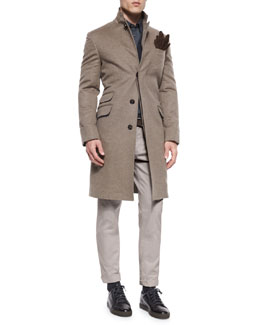 Single-Breasted Flannel Overcoat, Ribbed Cashmere Cardigan, Flannel Western Sport Shirt & Five-Pocket Cotton Pants