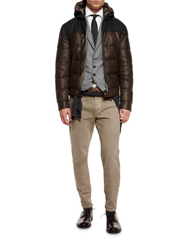 Hooded Leather Parka, Chevron Four-Button Wool Waistcoat & Five-Pocket Cotton Pants