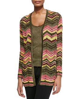 Metallic Zigzag Cardigan & Scoop-Neck Tank