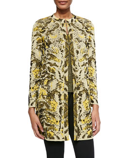 Metallic Chameleon Jacquard Coat & Solid Metallic Scoop-Neck Tank