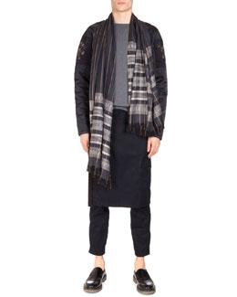 Jersey Combo Sweatshirt w/ Shoulder Patch, Pembroke Kilted Tabbed Pants & Check-Striped Woven Scarf