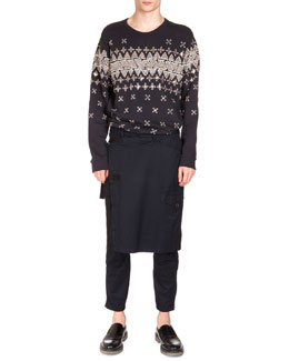 Geometric-Embroidered Sweatshirt & Pembroke Kilted Tabbed Pants