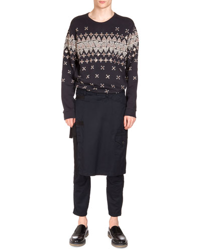 Geometric-Embroidered Sweatshirt & Pembroke Kilted Tabbed Pants