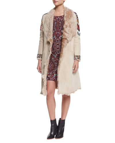 Curly Beaded Shearling-Lined Coat & Paisley Embroidered 3/4-Sleeve Dress