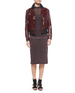 Mazy Glossy Bomber Jacket, Marie Metallic Sleeveless Top & Marie Metallic Pencil Skirt