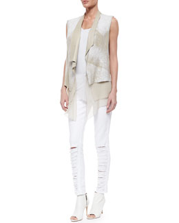 Betsy Leather Draped Hanky Hem Vest, Netta Knit Scoop-Neck Tank & Distressed Eyelet Cropped Jeans