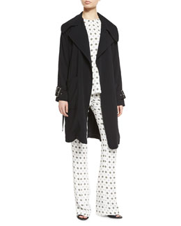 Engels Belted Trench Coat, Anise Silk Medallion-Print Top & Joseph Pants