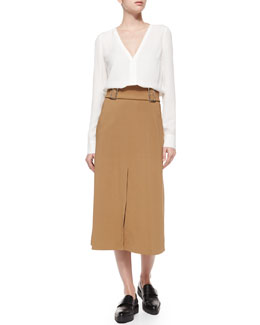 Cleary Silk V-Neck Top & Baker Belted Crepe A-Line Skirt