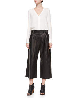 Cleary Silk V-Neck Top & Tabor Leather Gaucho Pants