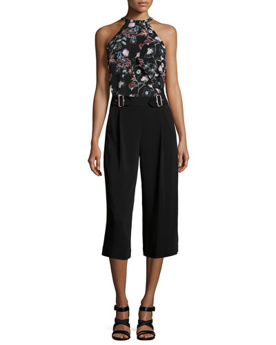 Iggy Floral-Print Halter Top & Beals Belted Gaucho Pants