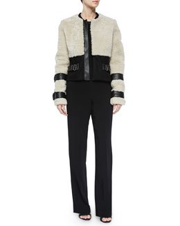 Stager Long-Sleeve Fur Jacket w/Leather Trim & Andrea Sleeveless Crepe Jumpsuit