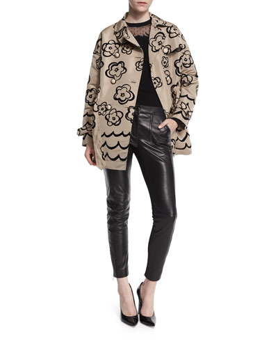Floral Flocked Trenchcoat, Tattoo Burnout Long-Sleeve Sweater & Leather-Front Woven-Back Skinny Pants