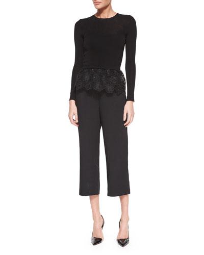 Long-Sleeve Top w/Lace Peplum & High-Waist Cropped Pants