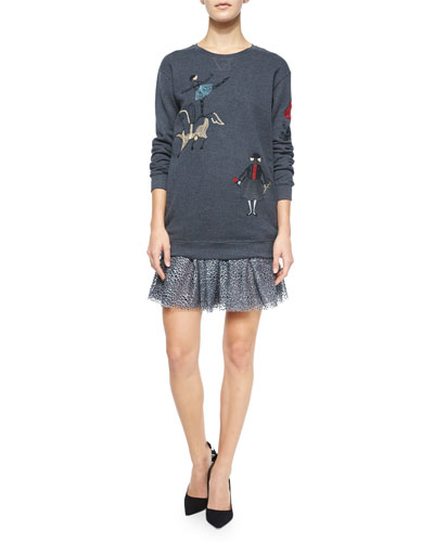 Circus Embroidered Sweatshirt & Pleated Metallic Flocked Skirt