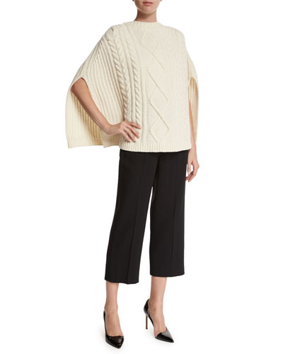Cable-Knit Wool Cape & High-Waist Wool Cropped Pants