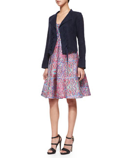 Angle Falls Structured Lace-Up Jacket & V-Neck Printed Midi Dress