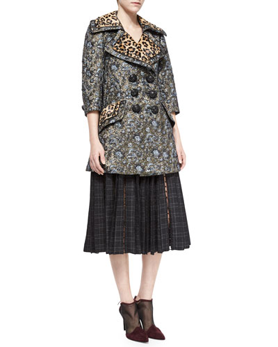 Leopard-Print Trimmed Double-Breasted Coat & Plaid-Print Dotted Tulle-Inset Skirt