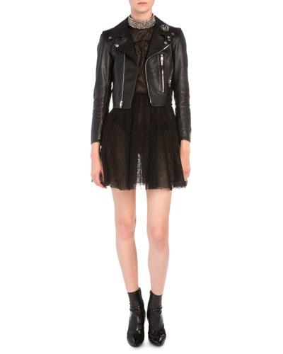 Brooch-Detailed Cropped Leather Moto Jacket & Studded Collar Allover Lace Dress