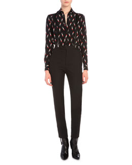 Lipstick-Print Button Blouse, Leather Suspenders & Tuxedo-Stripe Skinny Pants